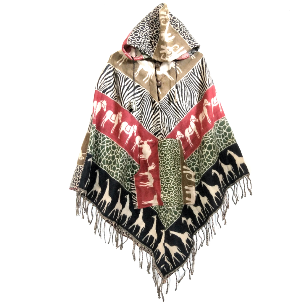 Handmade Poncho with Animal Patterns